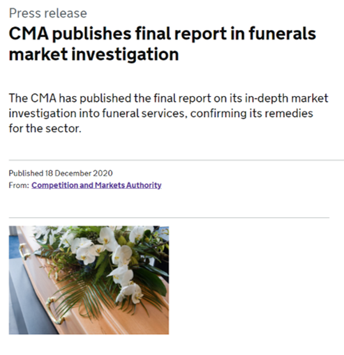 CMA (Competitions & Markets Authority) Funerals Markets Report